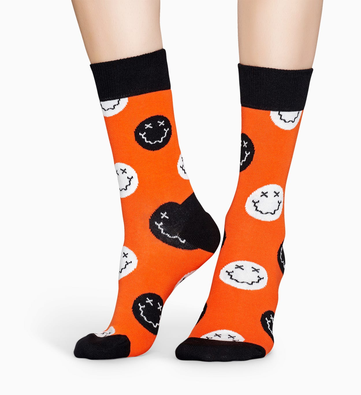Gemusterte orange Socken: Halloween Smile | Happy Socks
