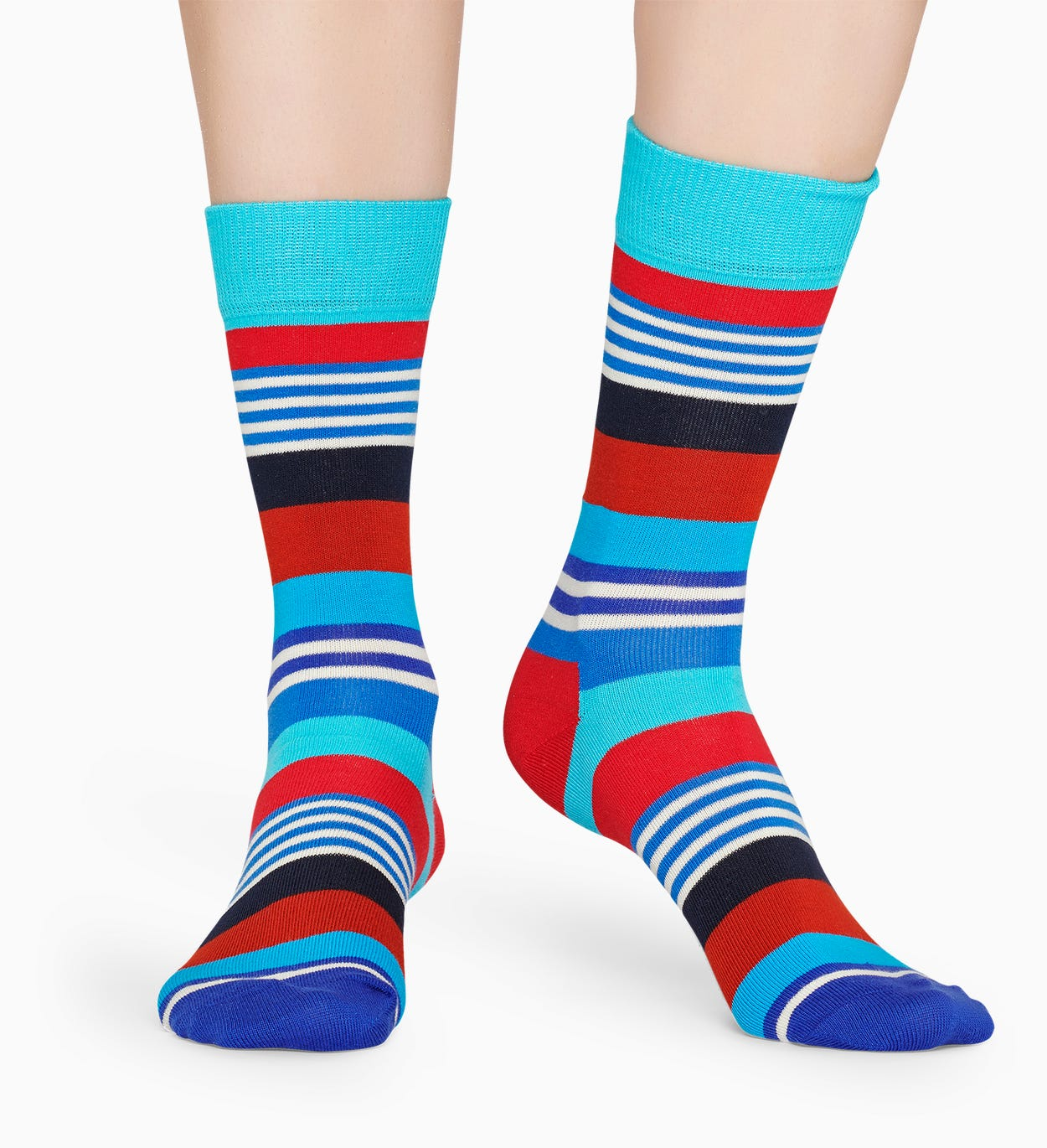 Blaue Baumwollsocken: Multi Stripe Muster | Happy Socks