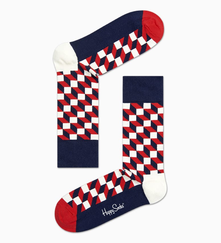 Navy Red Cotton Crew socks: Filled Optic style | Happy Socks