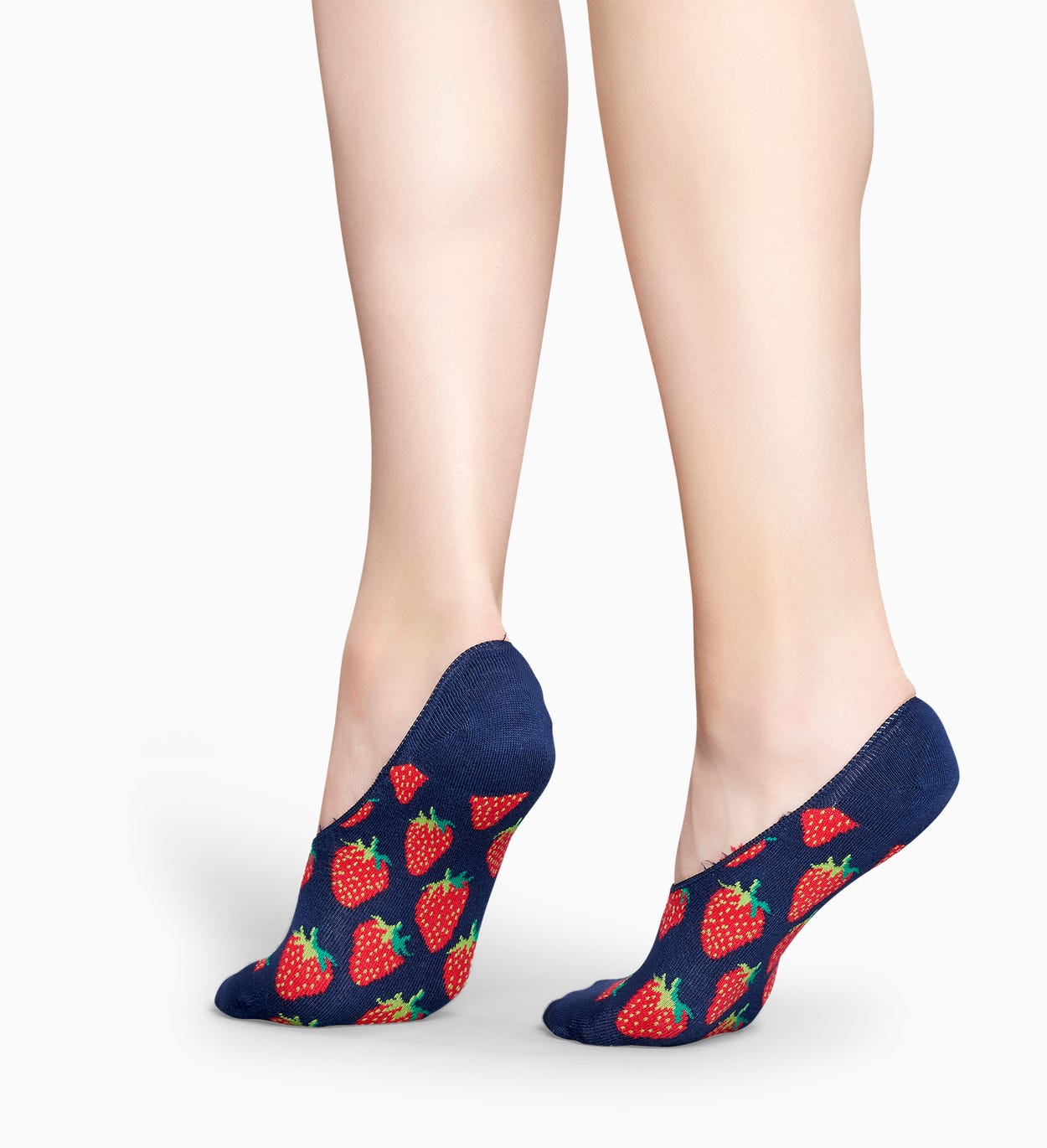 Blaue Füßlinge mit Erdbeer-Muster: Strawberry | Happy Socks