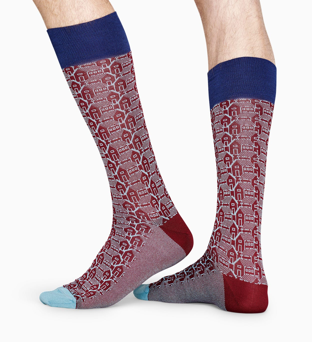 Burgundy suit socks: Architecture - Dressed | Happy Socks