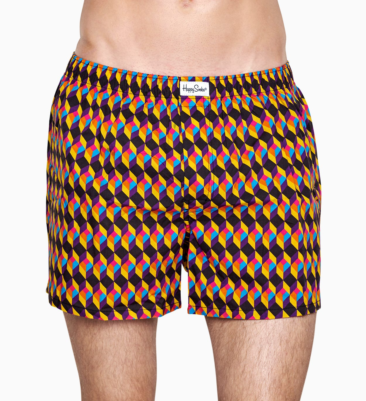 Heren ondergoed: Optic Square Boxer, Zwart | Happy Socks
