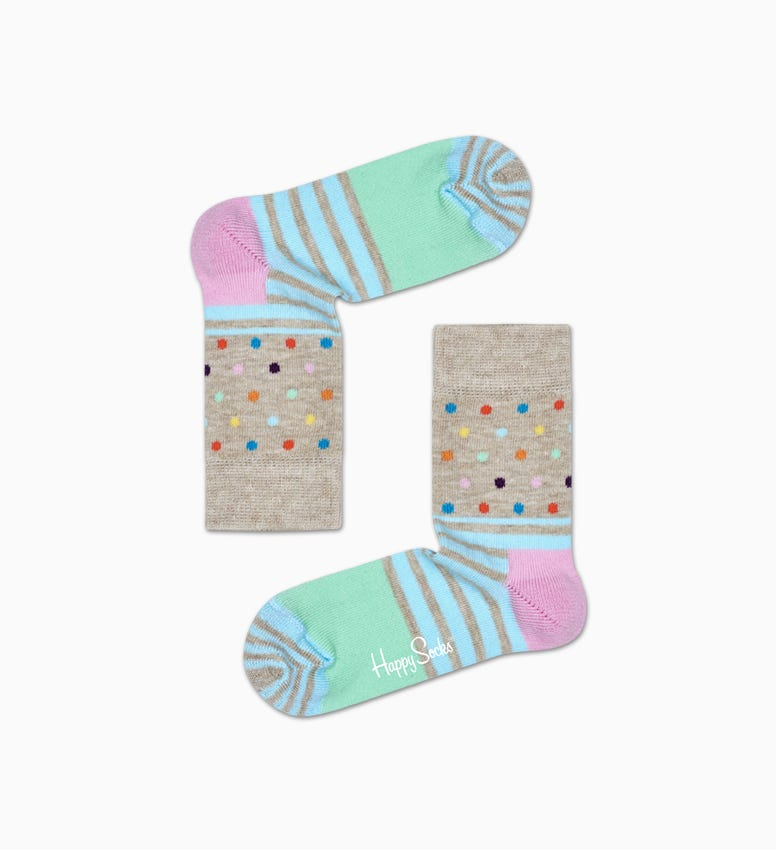 Graue Baby Socken: Stripe Dot | Happy Socks