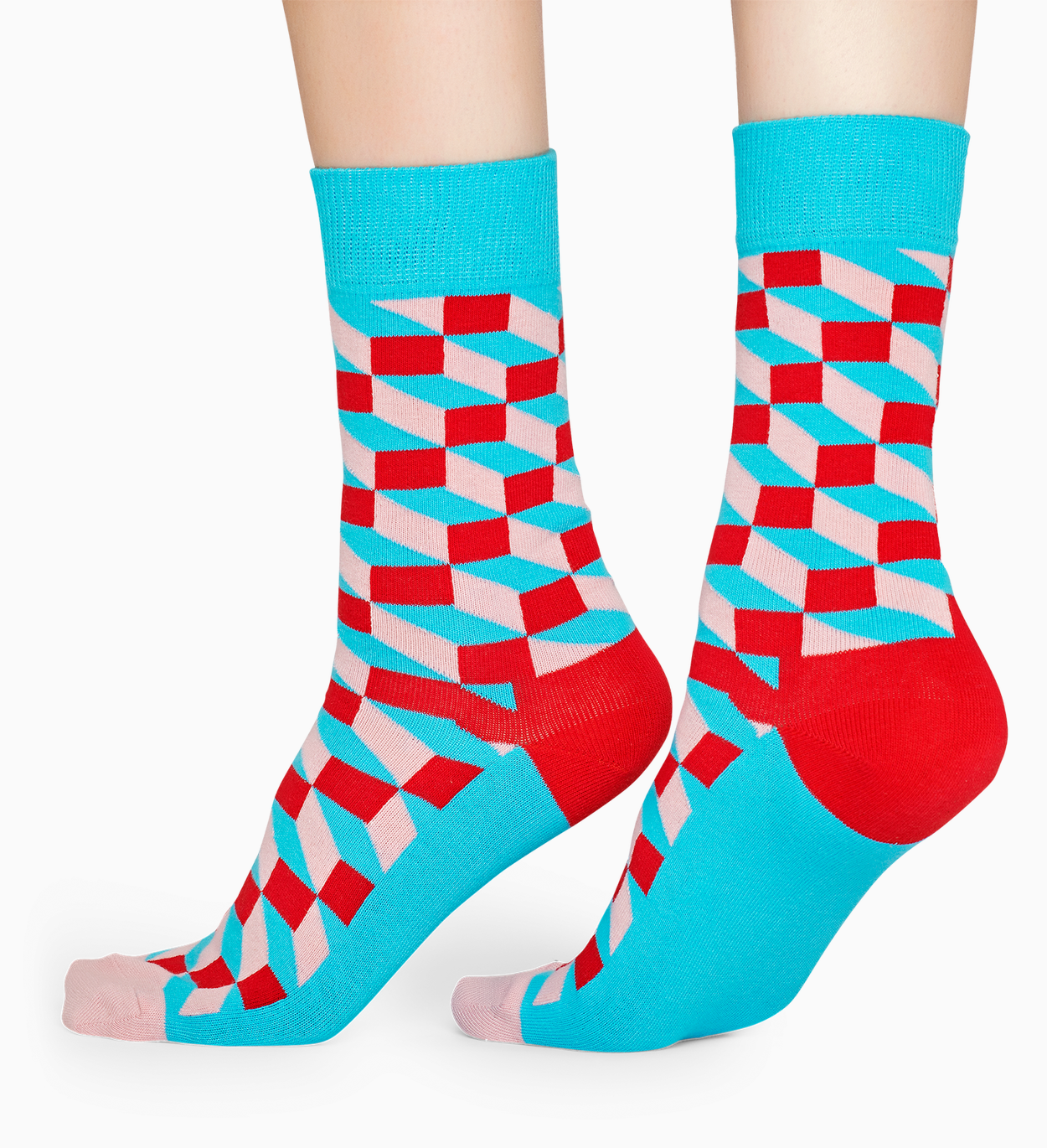 Red cotton socks: Filled Optic pattern | Happy Socks