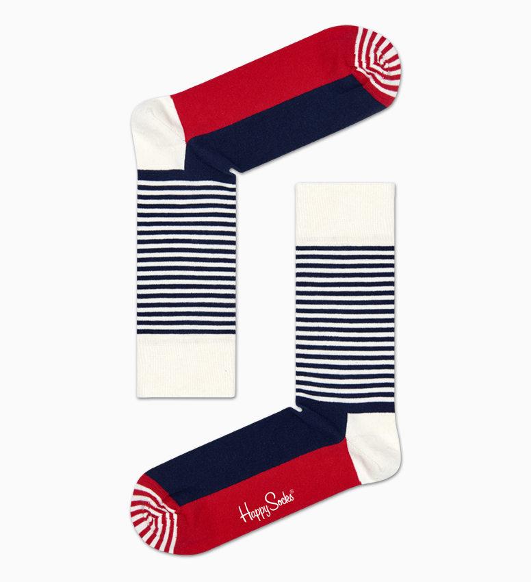 Chaussettes Bleu marine, Rouge : Half Stripe | Happy Socks