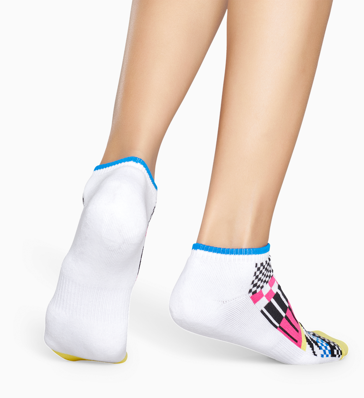 Socquettes Sport Blanches: Rayures - ATHLETIC   Happy Socks