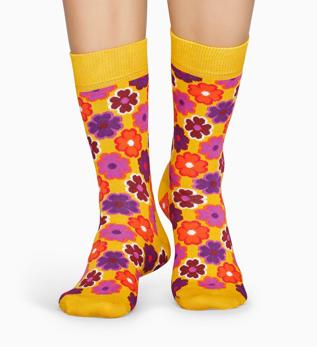 Patterned Yellow Socks: Flower Power | Happy Socks