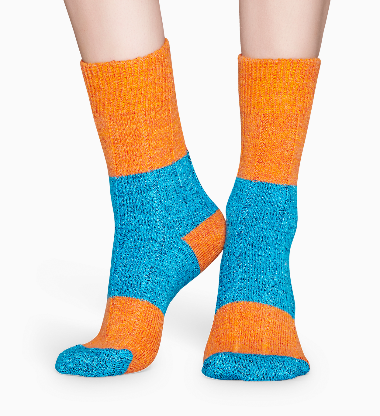 Arancione calze di lana: Blocked Rib | Happy Socks