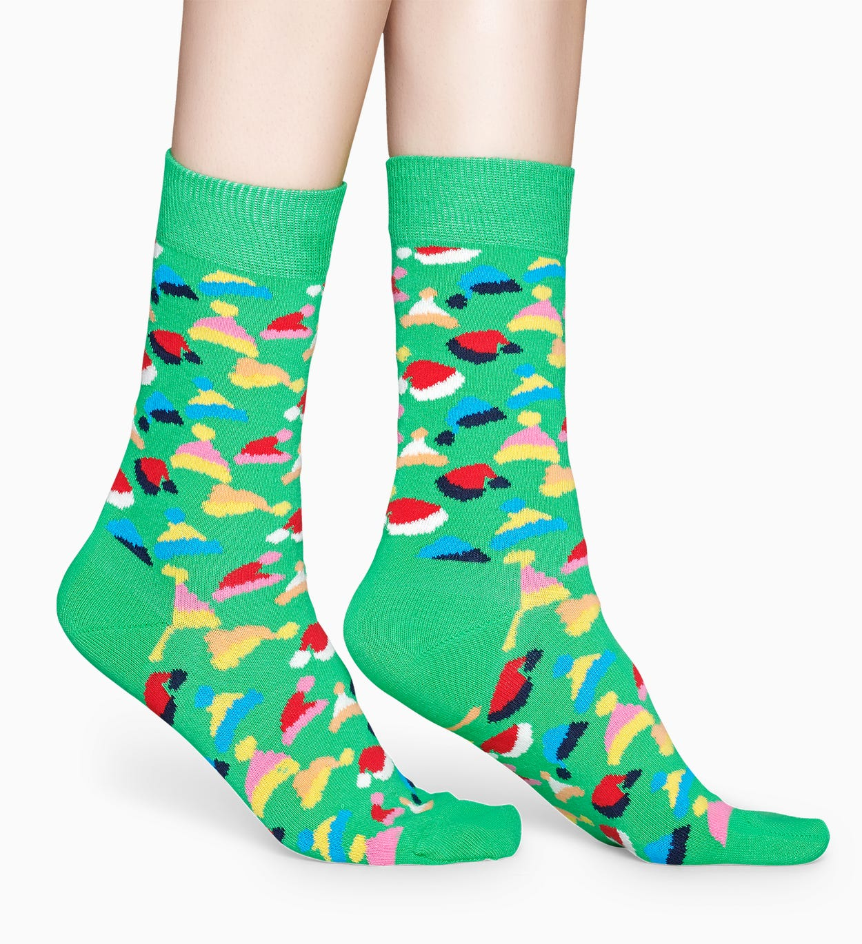 Patterned Green Socks: Santas Hats | Happy Socks