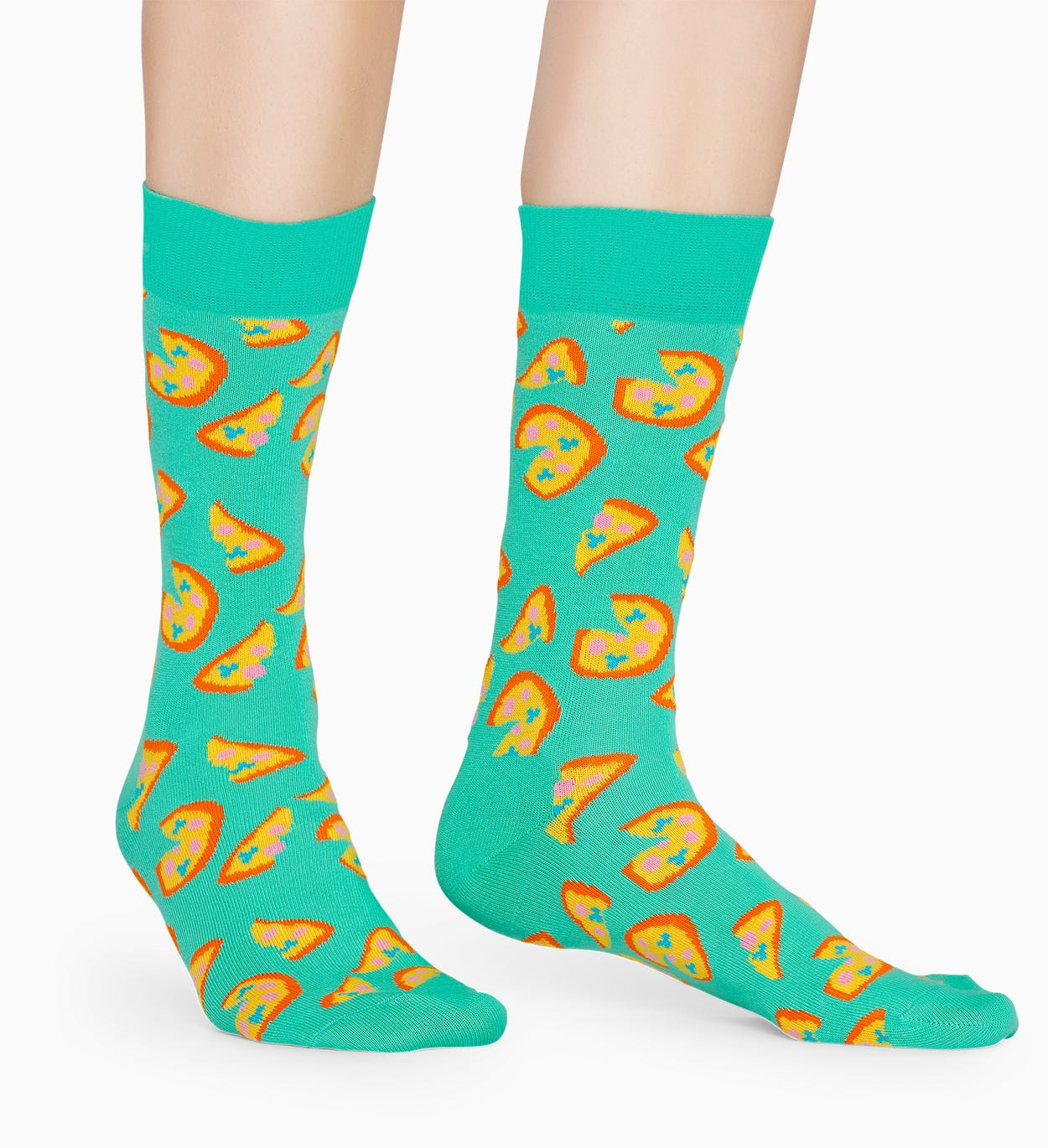 Turquoise cotton socks: Pizza pattern | Happy Socks