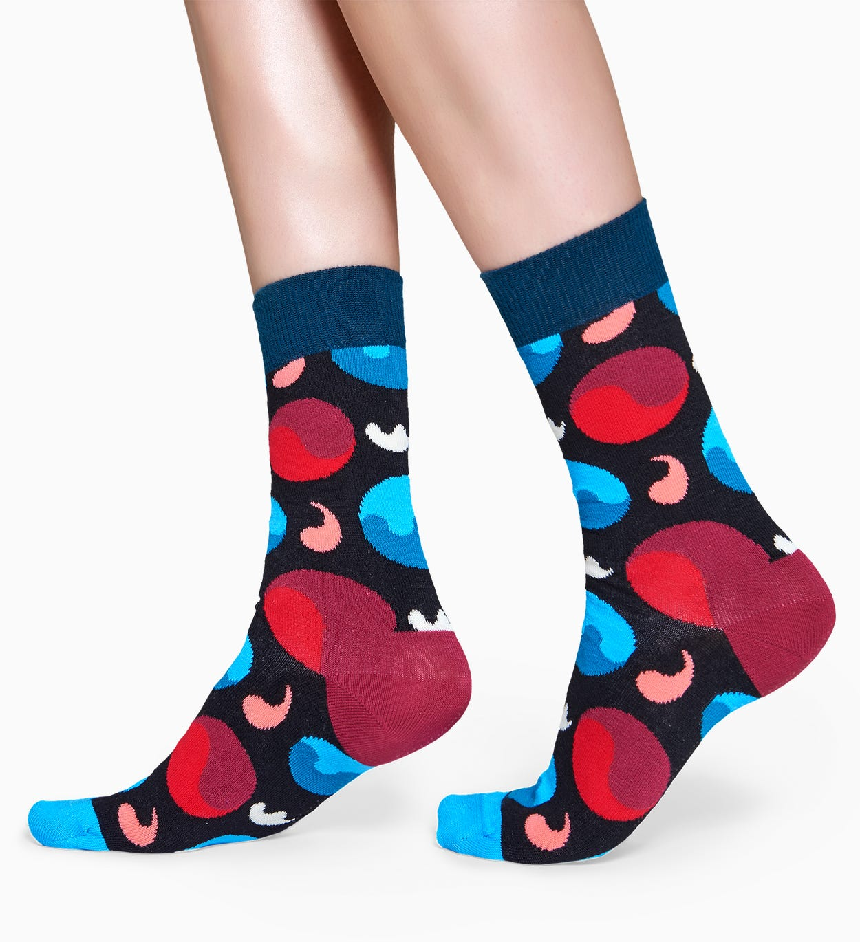 Schwarze Baumwollsocken: Yin Yang Design | Happy Socks