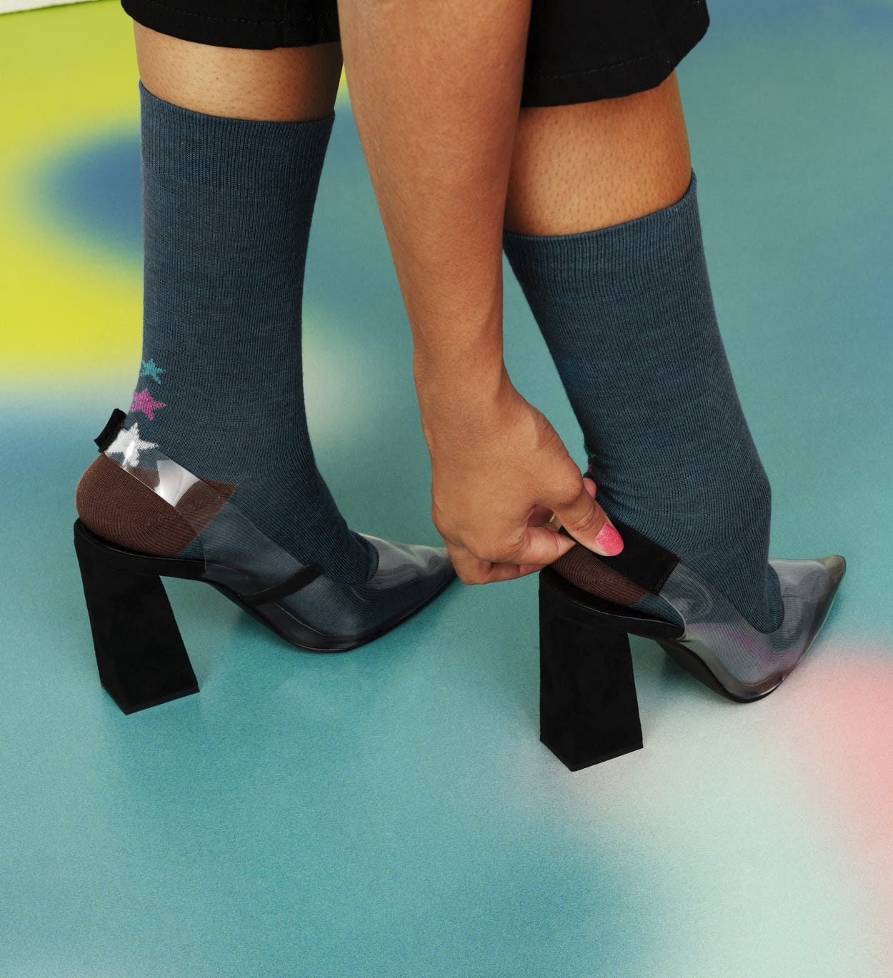 Blue Mid High Sock: GIna - Hysteria | Happy Socks