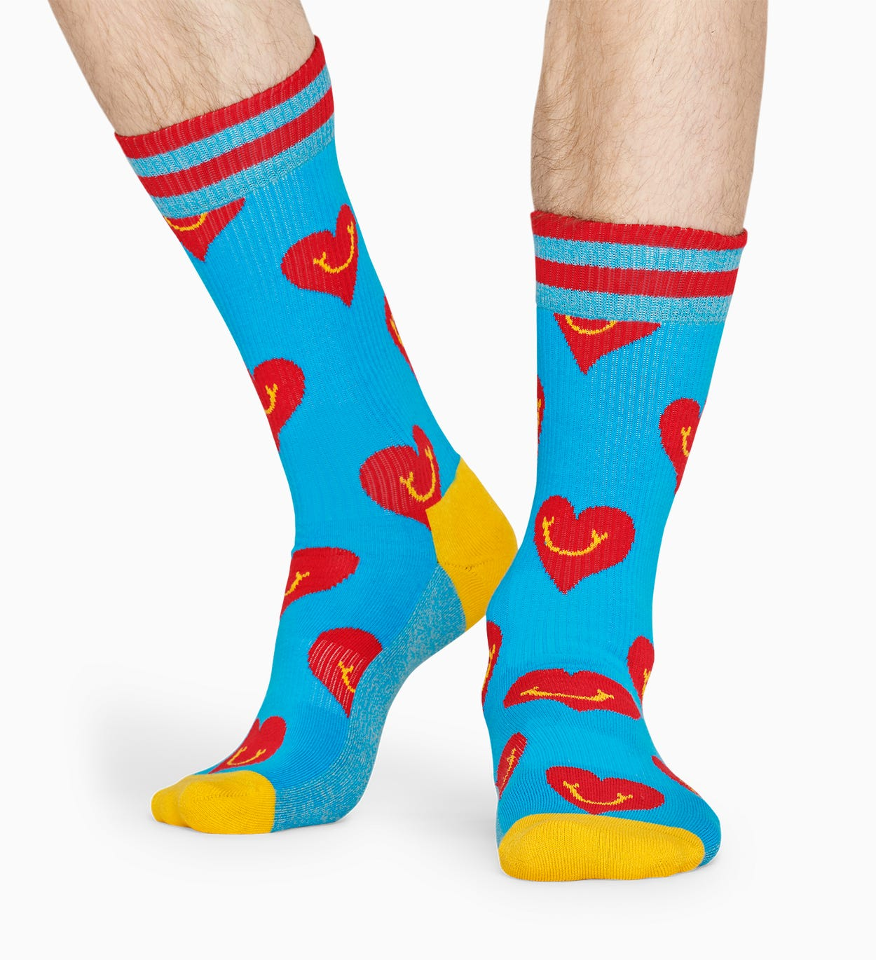 Blaue, rote Socken: Smile Heart - ATHLETIC | Happy Socks