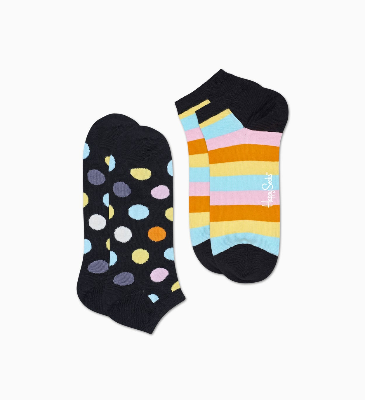 Schwarze Low Socken 2er-Pack: Big Dot | Happy Socks