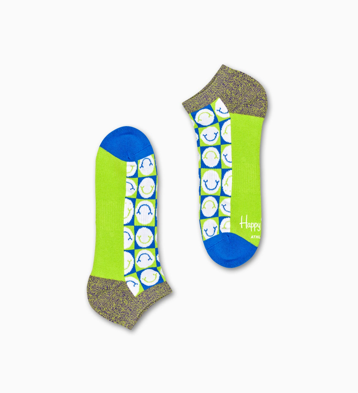 2-Pack Check Low Socks, Green - ATHLETIC | Happy Socks