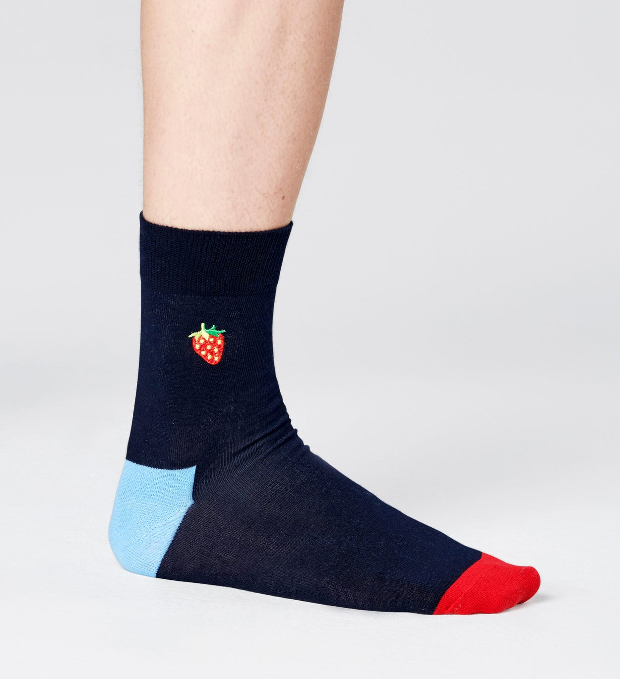 Embroidery Strawberry 1/2 Crew Sock
