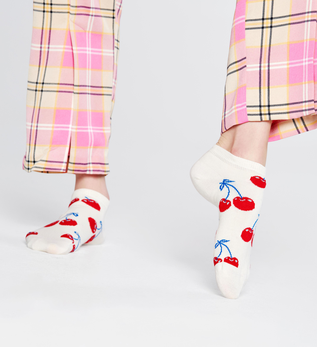 Socquettes Cerise, Blanches | Happy Socks
