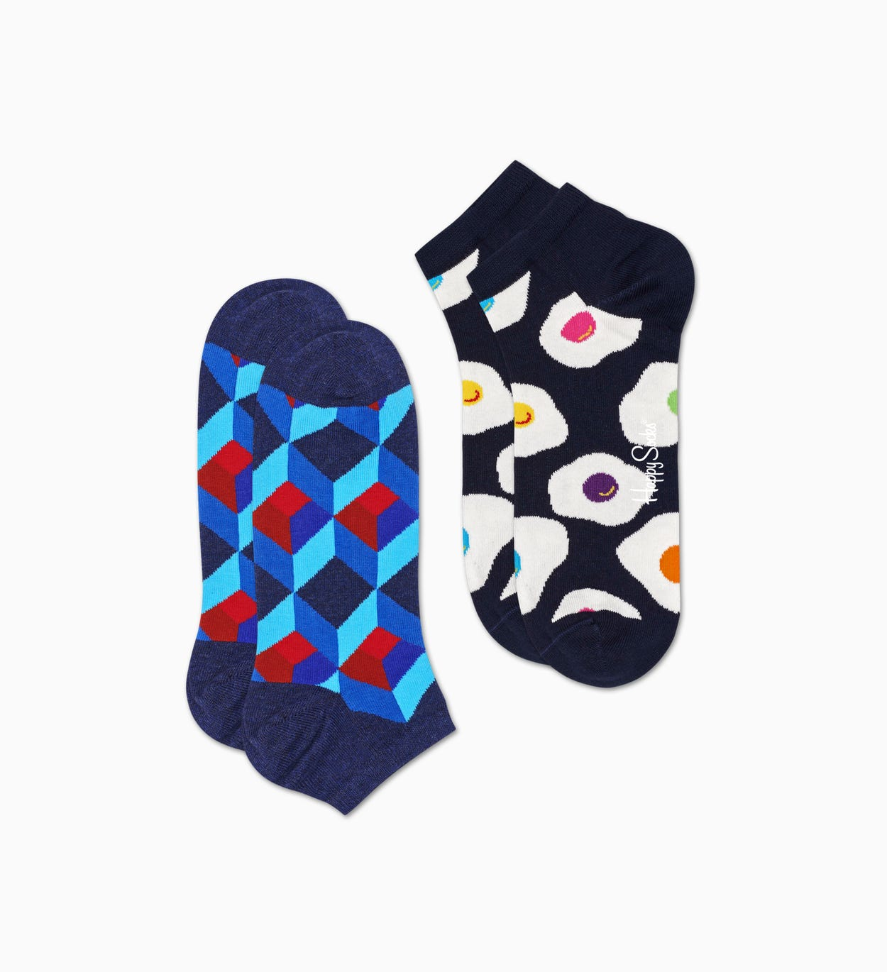 Blaue Low Socken 2er-Pack: Optic Square | Happy Socks