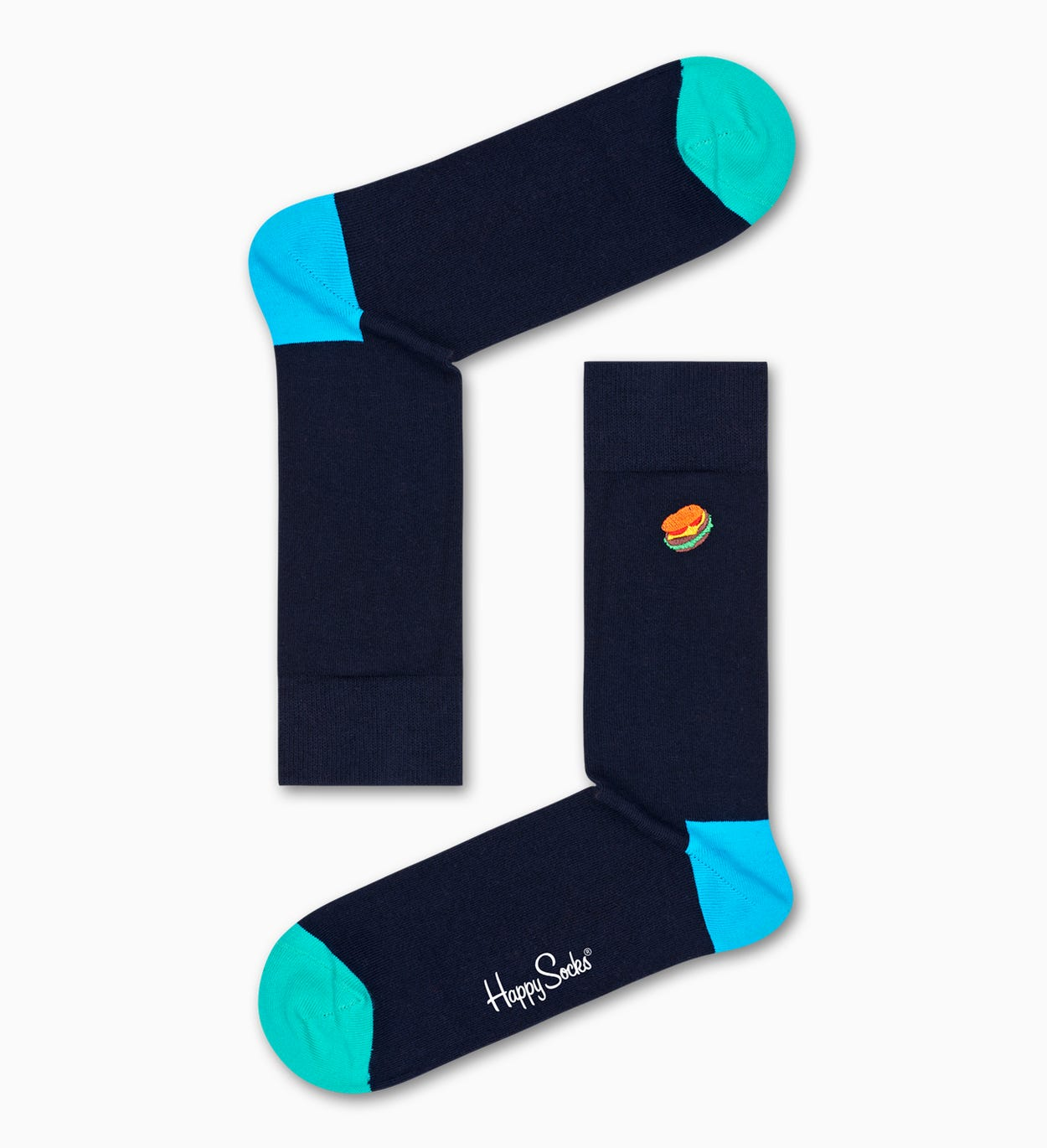 Embroidery Hamburger Socks, Black | Happy Socks
