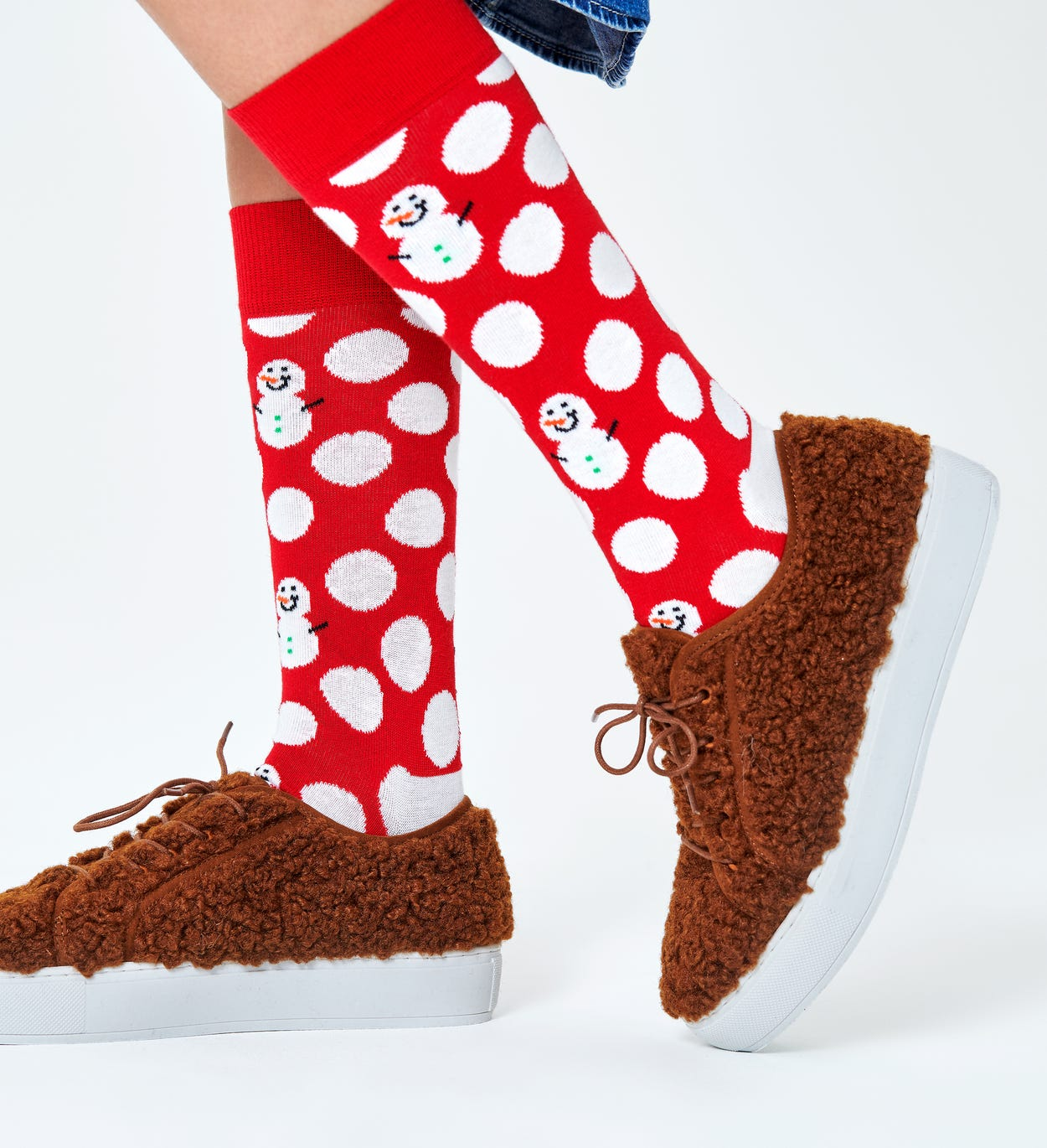 Gemusterte rote Socken: Big Dot Schneemann | Happy Socks