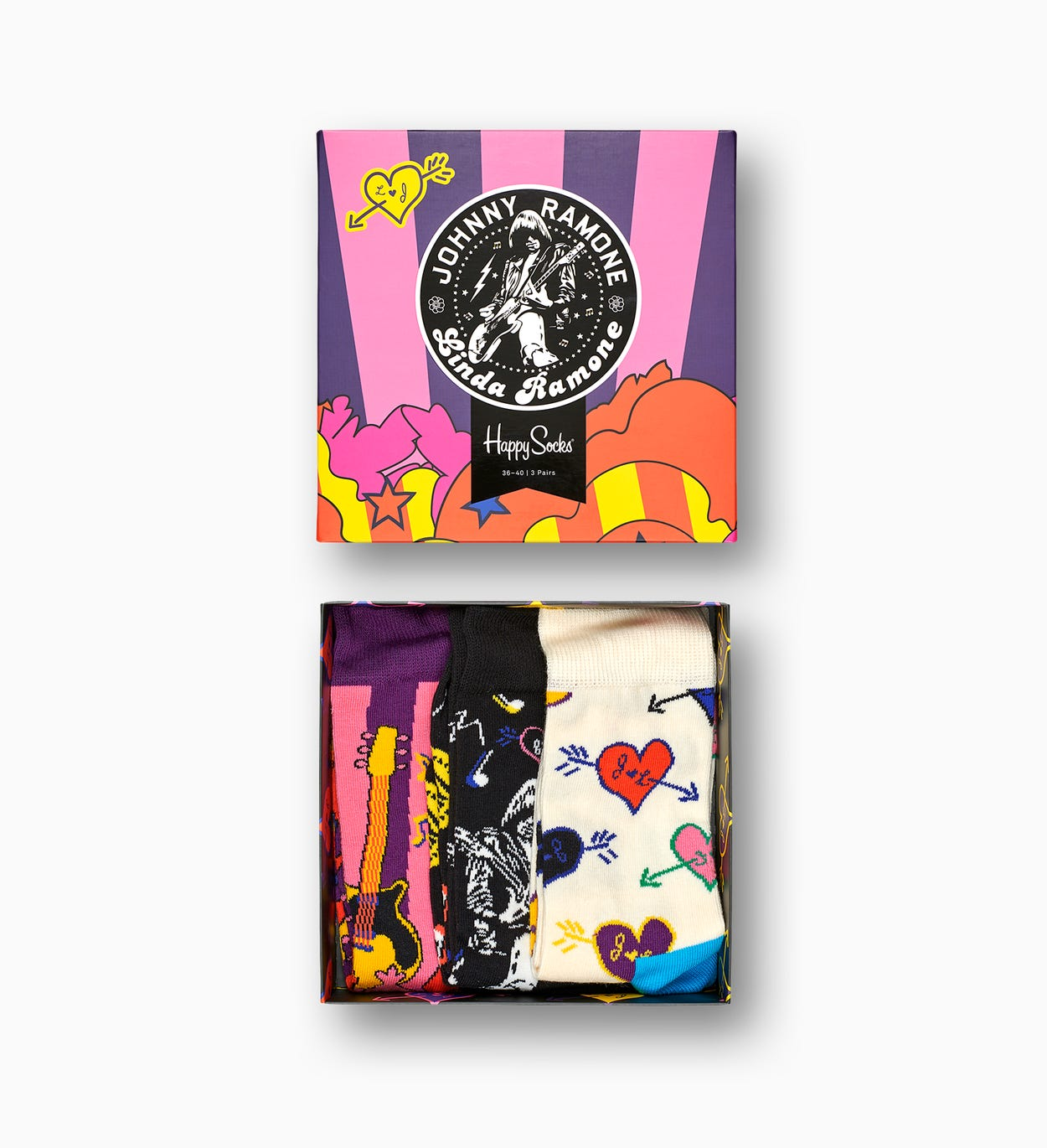 Linda And Johnny Ramone Gift Box, Pink | Happy Socks