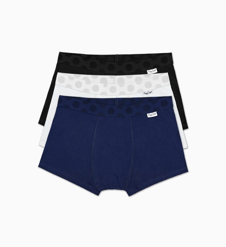Solid Men's Trunk 3-Pack: Contrast Style | Happy Socks