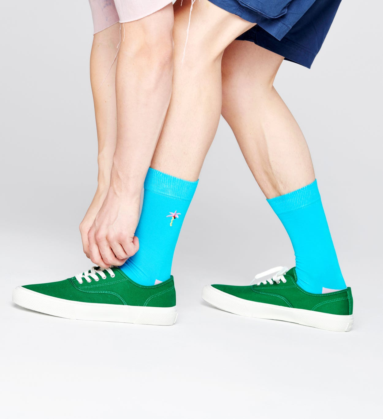 Embroidery Palm Socks, Blue | Happy Socks