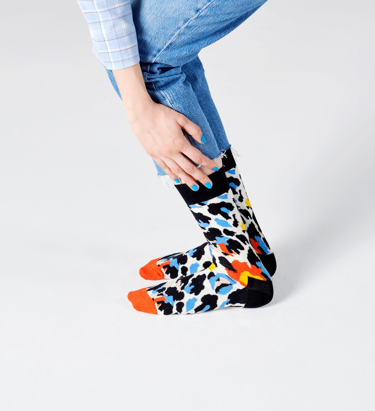 Leoparden Socken, Blau | Happy Socks