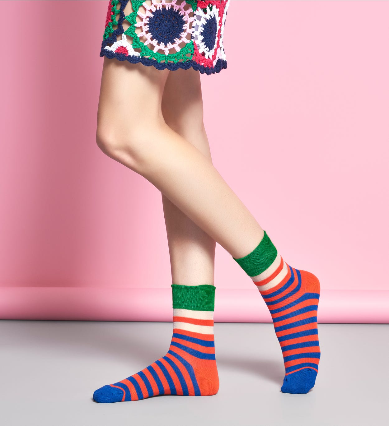 Women's Ankle Socks: Verna - Orange & Blue | Hysteria