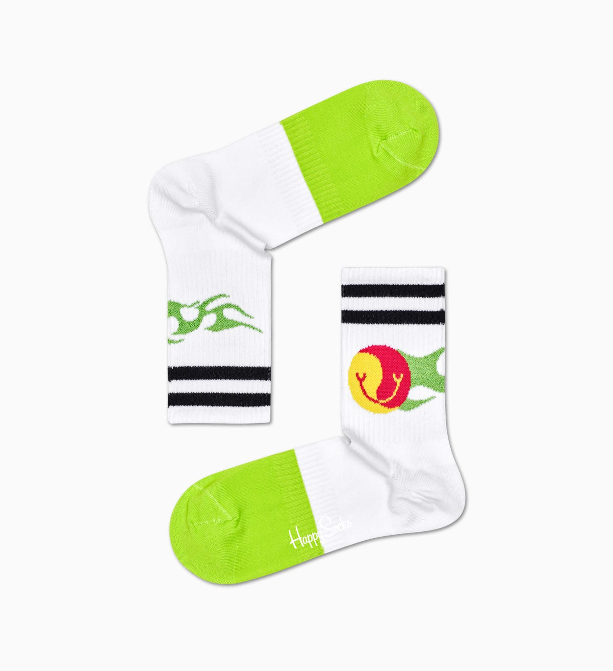 Flame 3/4 Crew strømper, hvid - ATHLETIC | Happy Socks