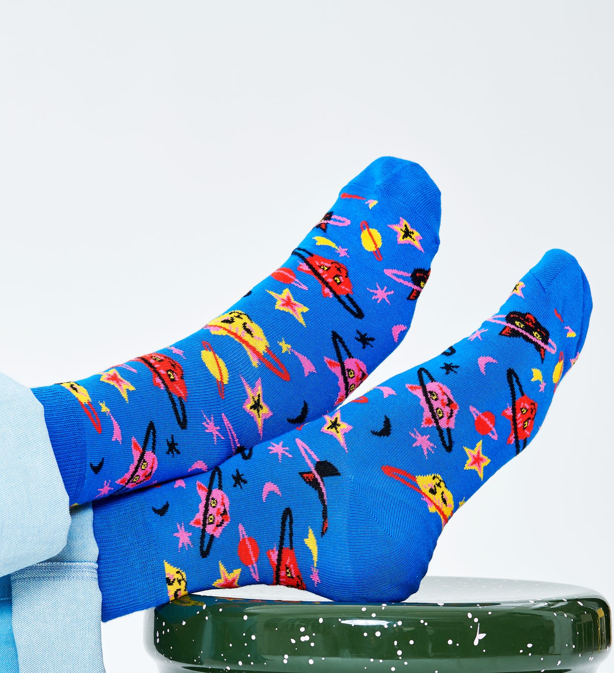 Space Cat 1/2 Crew Sock