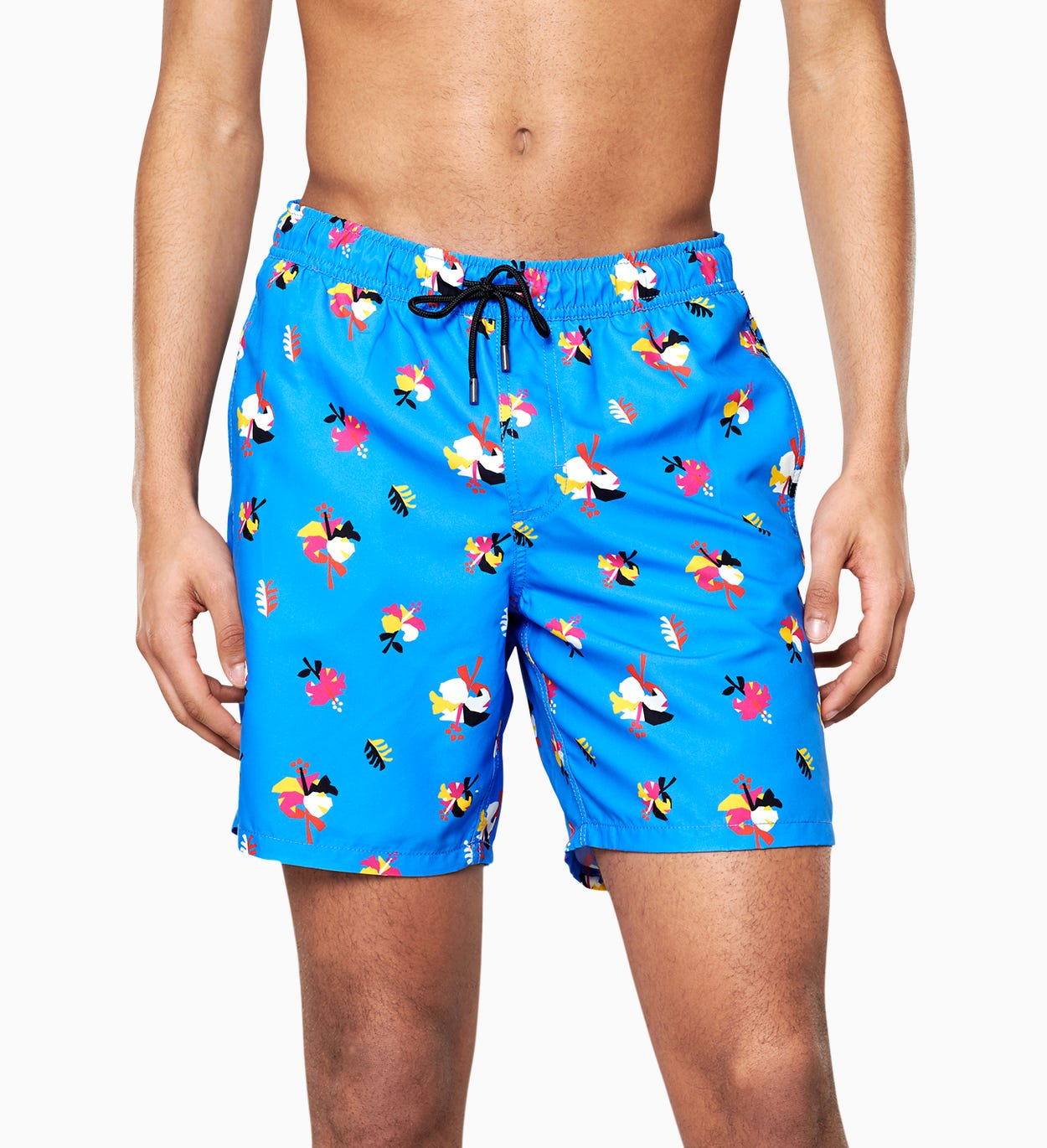 Hibiscus Long Swim Shorts, Blue | Happy Socks