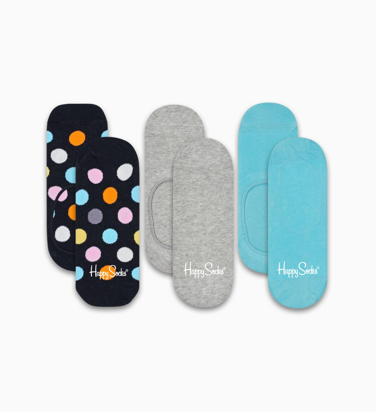 Black   Turquoise liner socks 3pc: Big Dot | Happy Socks