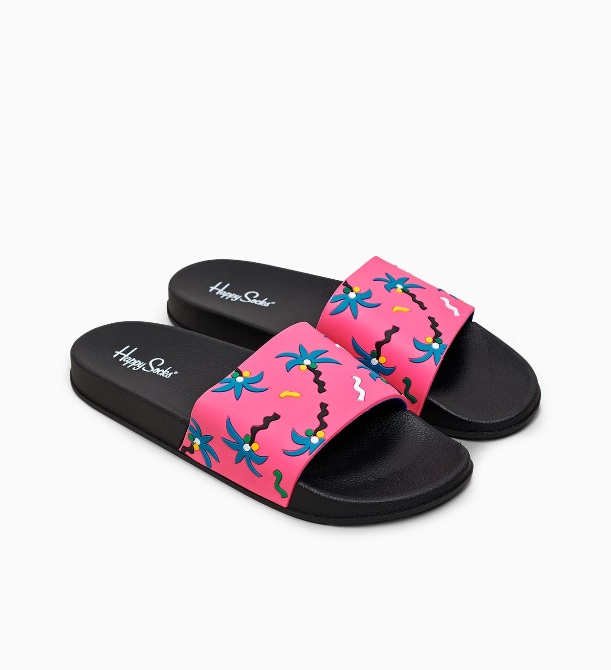 Pool Slider Confetti Palm, Black | Happy Socks