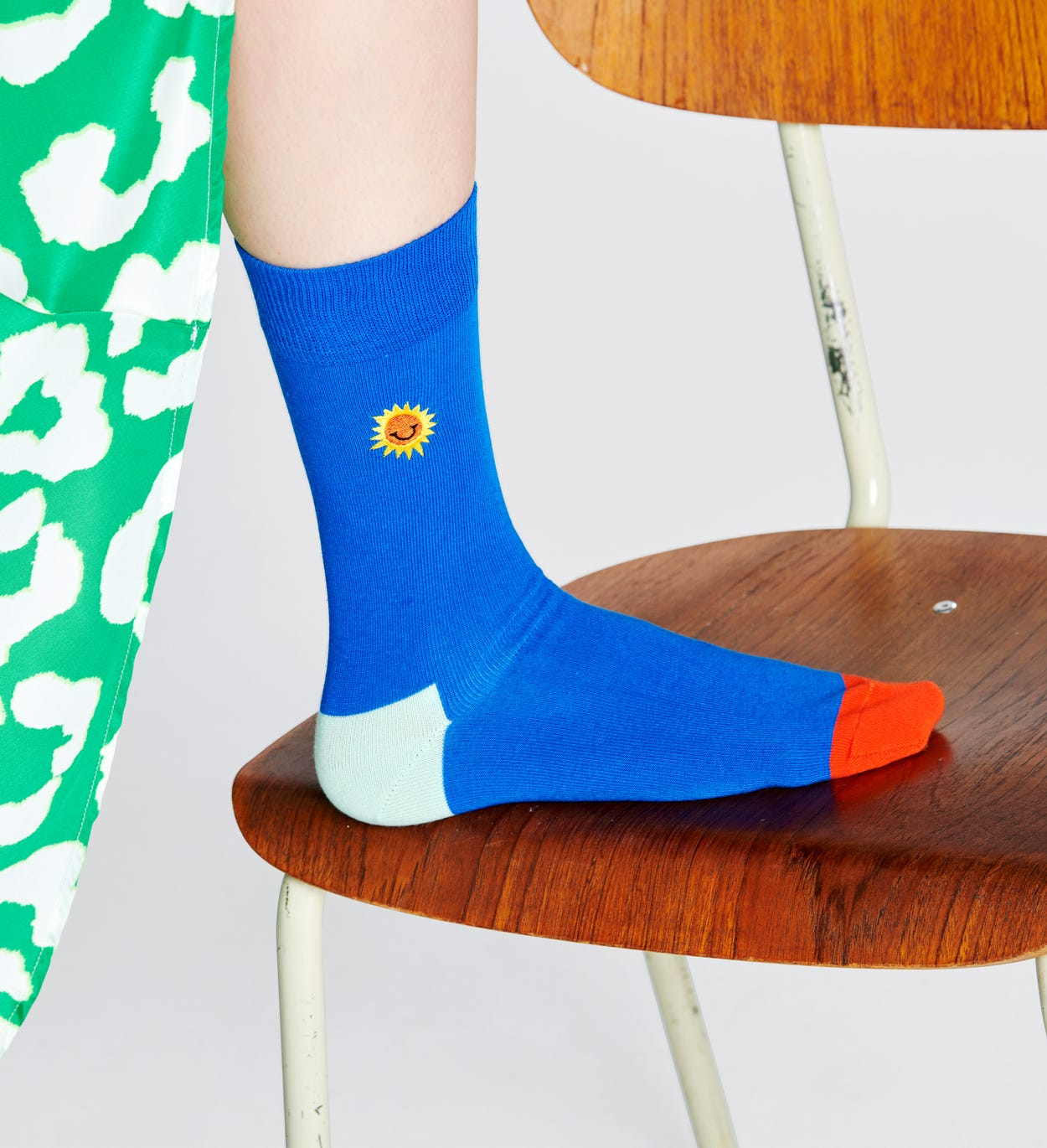 Embroidery Sunny Smile 양말, 블루 | Happy Socks