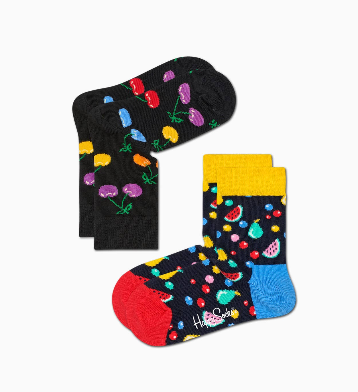 Schwarze Baby-Socken - 2er Pack: Cherry | Happy Socks