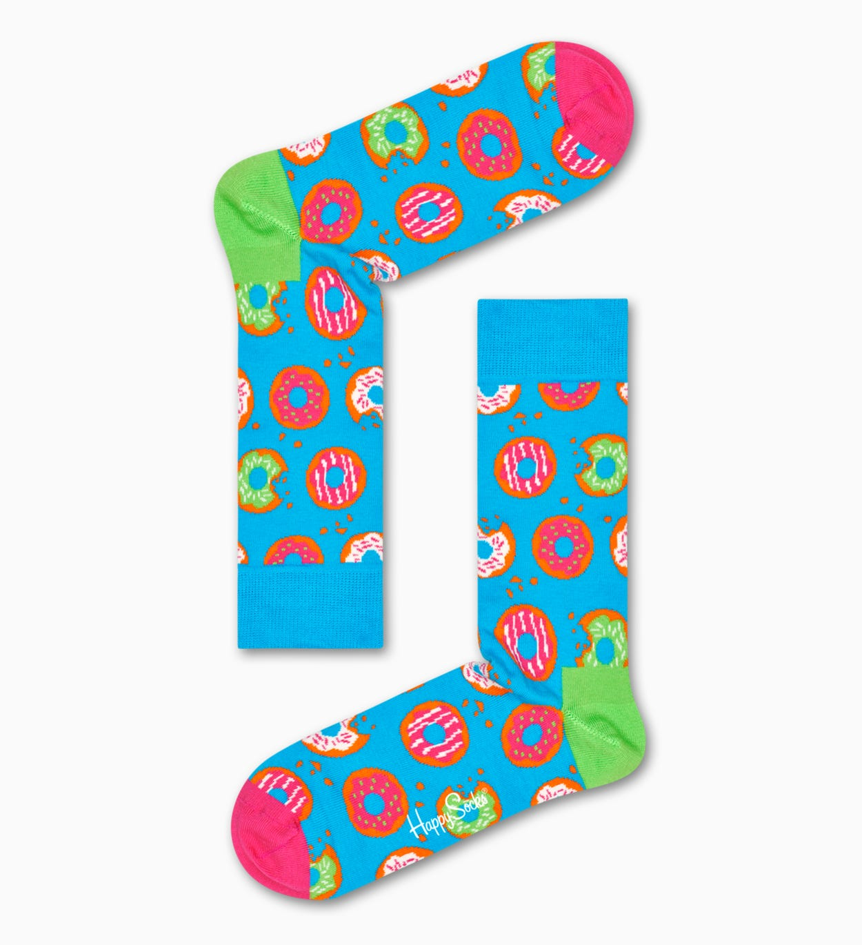 Treat their feet to delicious Donut socks! Featuring a bright, sky blue background with a buffet of colorful donuts, these vibrant socks look good enoug…