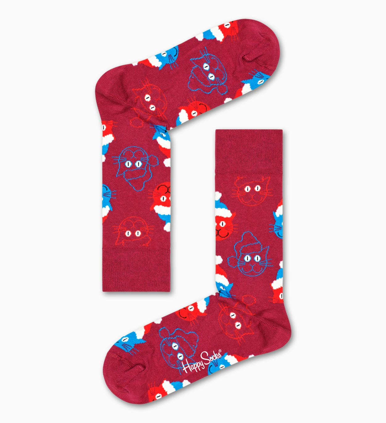 Rote Santa Cat Socken | Happy Socks