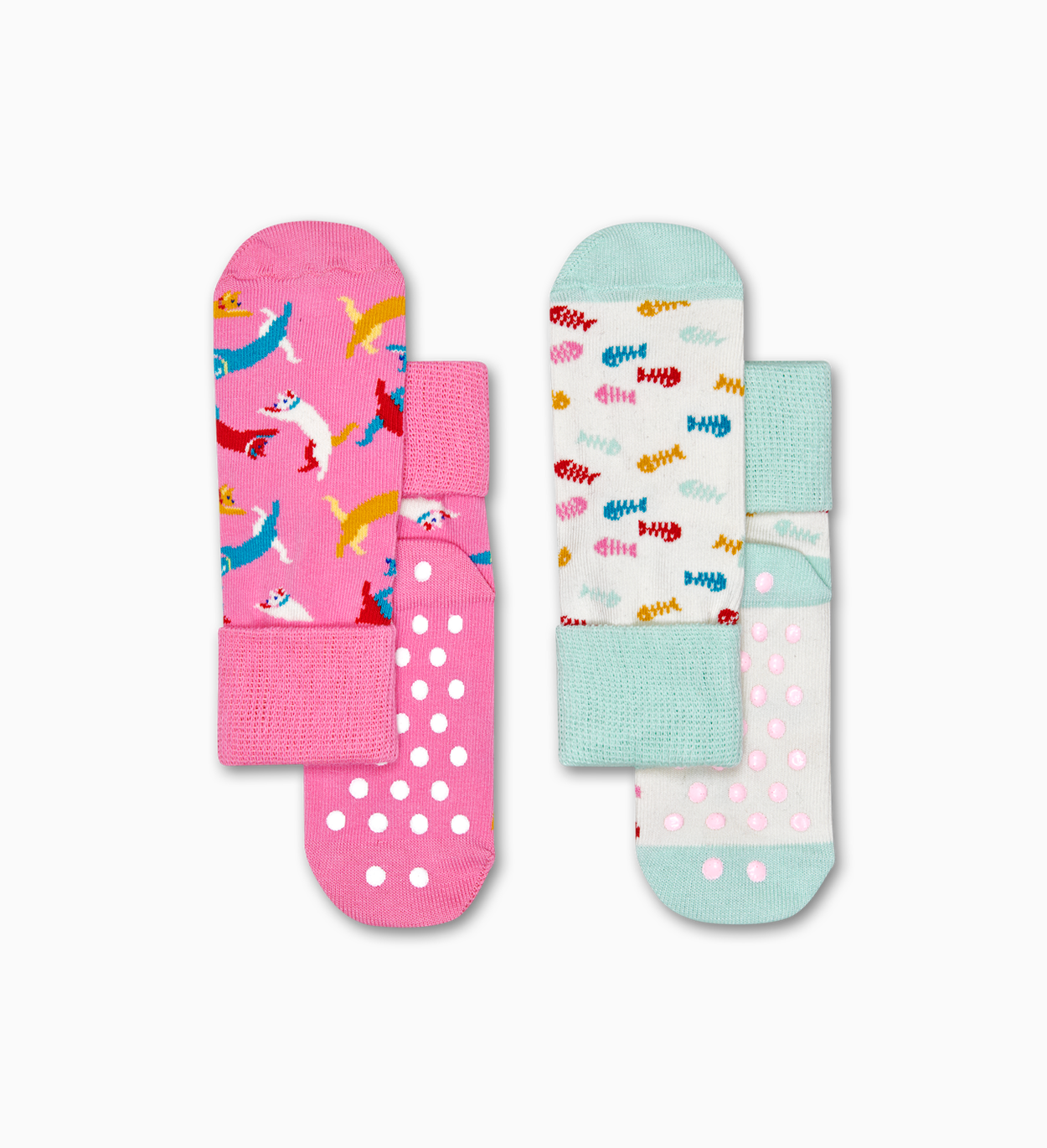 Cat Anti-Slip 양말, 2팩, 핑크 - 키즈 | Happy Socks