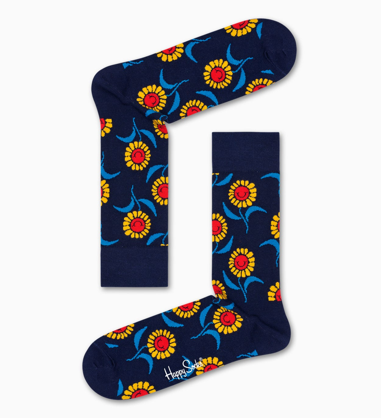 Patterned Navy Socks: Sunflower | Happy Socks