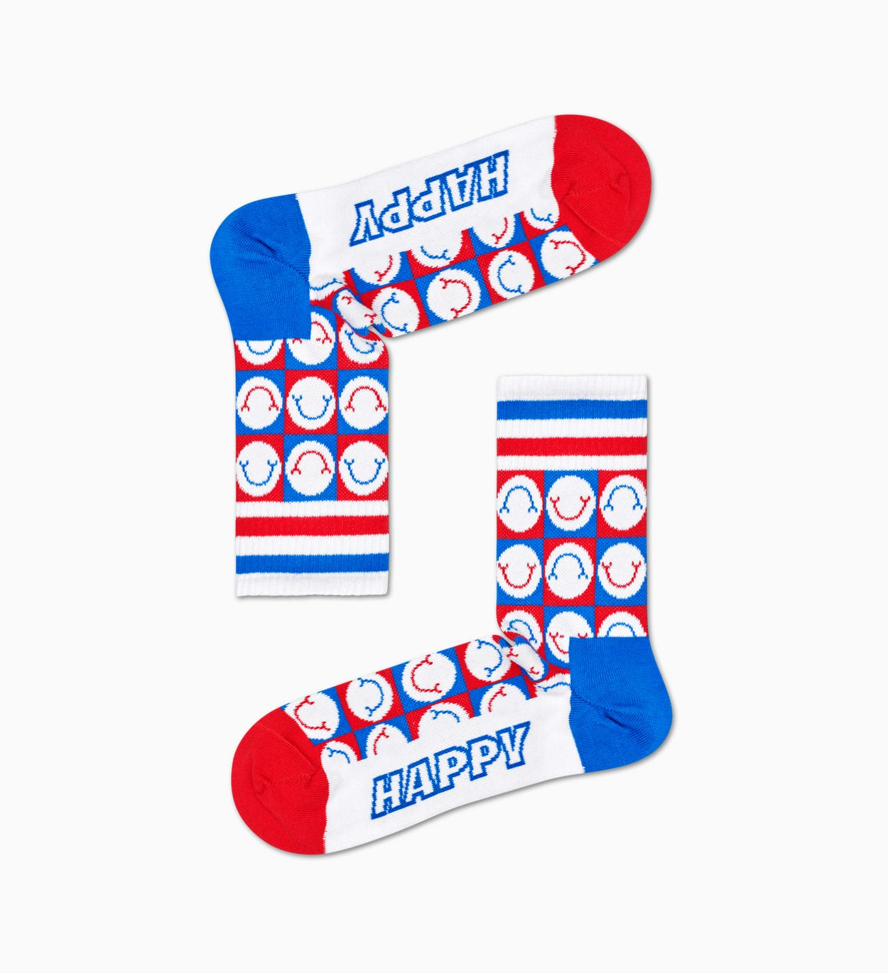 Happy Check 3/4 Sokken, wit - ATHLETIC | Happy Socks