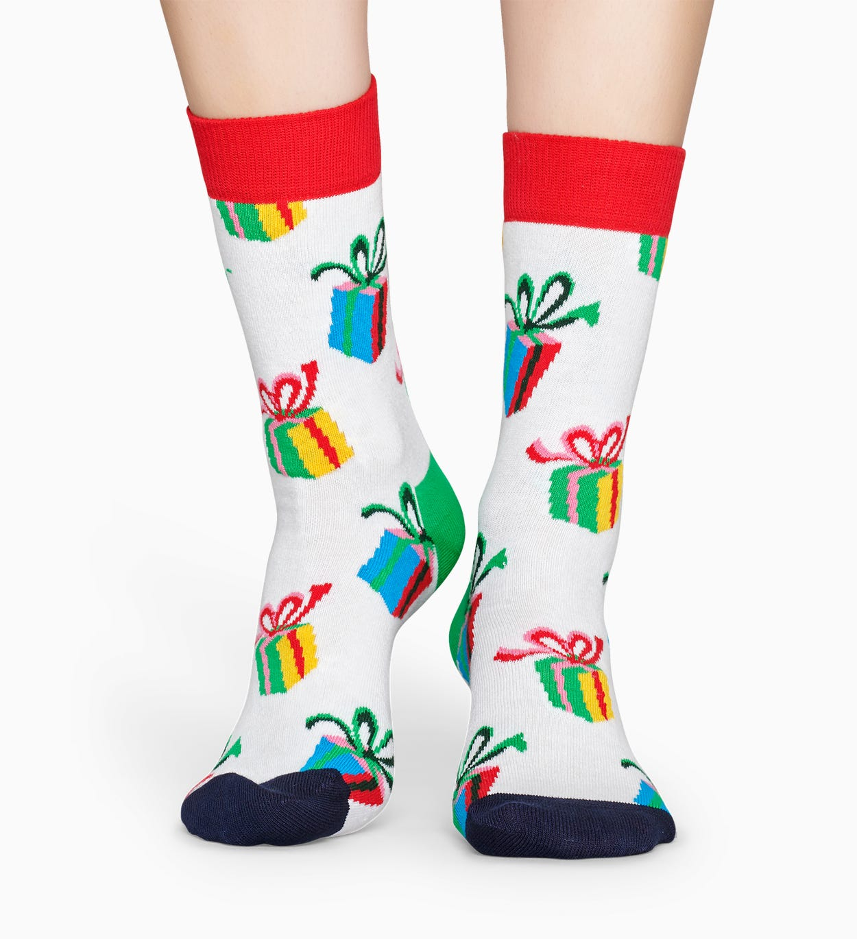 Mønstrede hvite sokker: Presents | Happy Socks