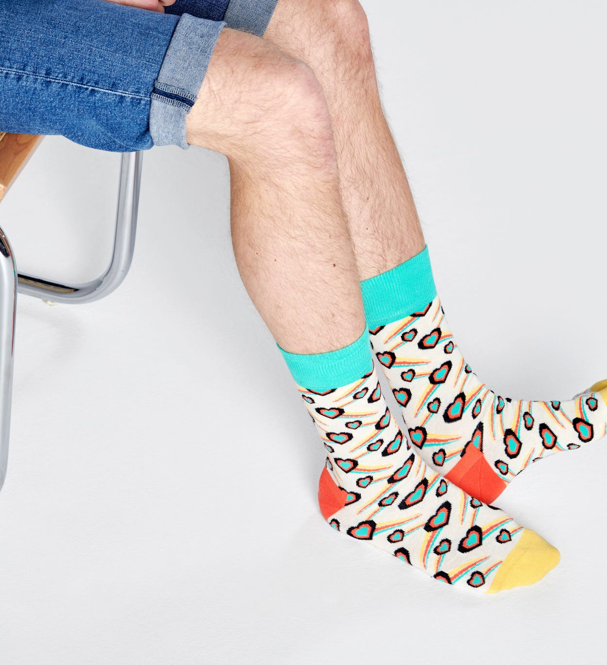 Shooting Heart Socks, White | Happy Socks